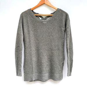 AMERICAN EAGLE olive lace-up back waffle knit sweater